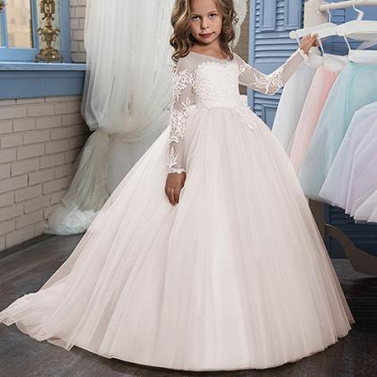 New Applique Long Sleeve Ball Gown ..