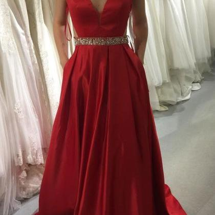 Sexy Long V Neck Backless Prom Dres..