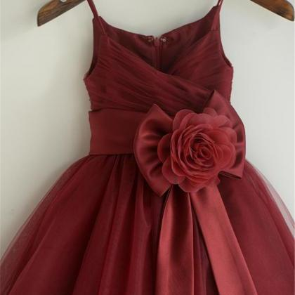 Burgundy Tulle Flower Girl Dresses,..
