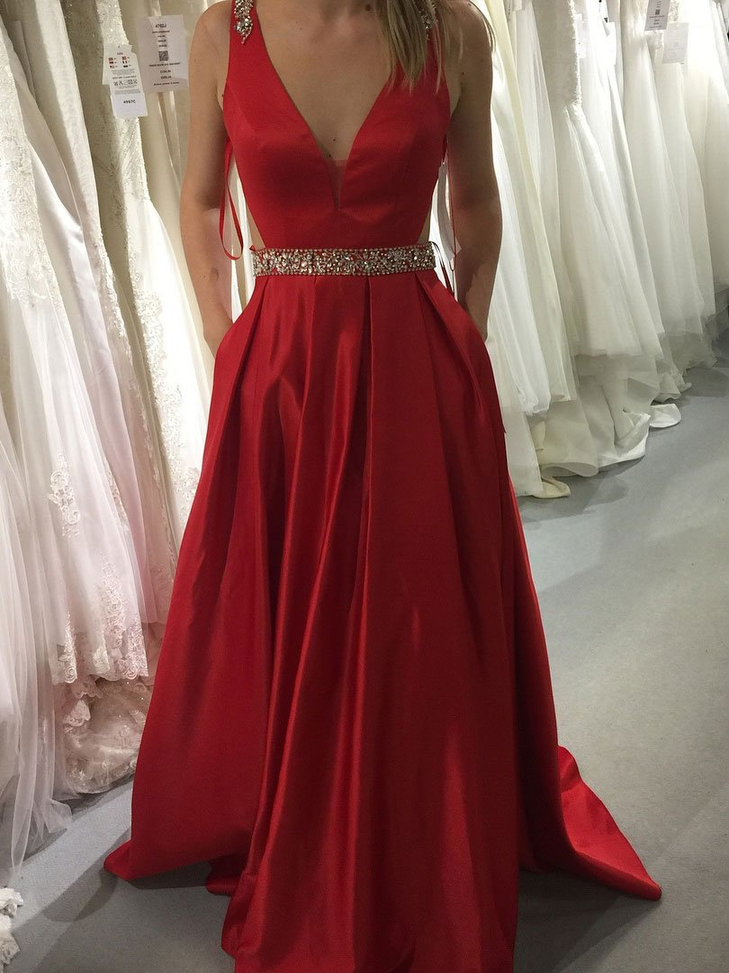 Sexy Long V Neck Backless Prom Dress Evening With Bow Dress Party Dress Bridesmaid Dress Wedding Occasion Dress Formal Occasion Dress