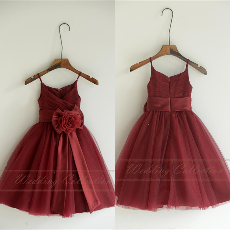 Burgundy Tulle Flower Girl Dresses, Flower Girls Dress With Sash Bow Flower W88