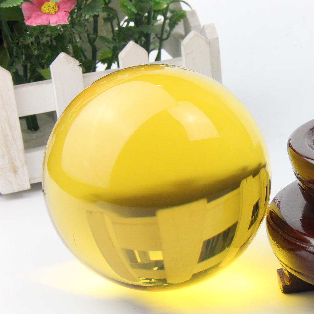 100mm Natural Yellow Rock Quartz Stone Magic Crystal Healing Ball Sphere + Stand LH-19