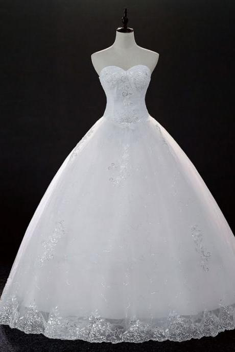 New Design Lace Applique Strapless Full Length Bridal Gwon Bridal Wedding Dress Party Dress E7