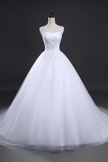 Real Photo New Ball Gown Lace Applique Beaded Full Length Bridal Gwon Bridal Wedding Dress Party Dress E13
