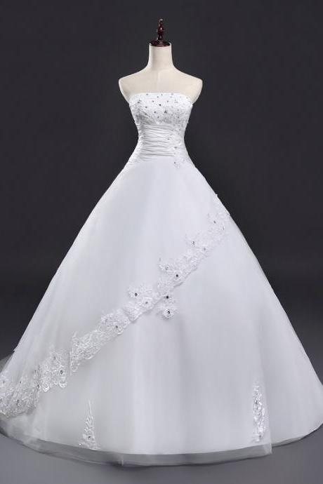 Real Photo New Ball Gown Lace Applique Beaded Full Length Bridal Gwon Bridal Wedding Dress Party Dress E16