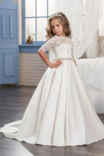 Long Girl's First Communion Dress Kid Birthday Party Prom Flower Girl Dresses