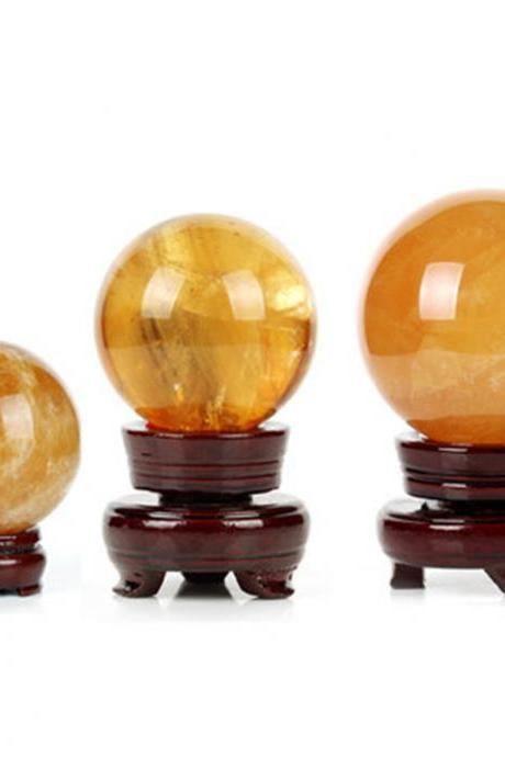50mm Natural Topaz Quartz Stone Magic Crystal Healing Ball Sphere + Stand LH-25