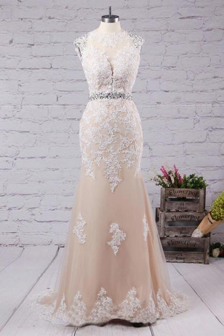 Sexy Long Lace Cap Shoulder Prom Dress Evening Dress Party Dress Bridesmaid Dress Wedding Occasion Dress Formal Occasion Dress