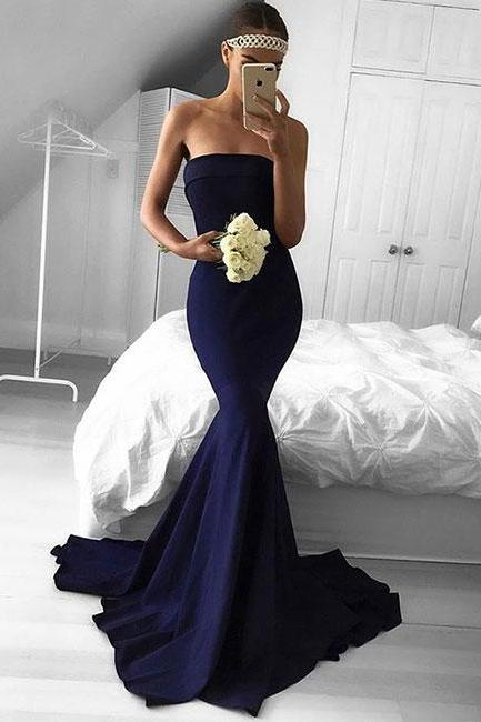 Sexy Long Strapless Mermaid Chiffon Applique Full Length Prom Dress Evening With Bow Dress Party Dress Bridesmaid Dress Wedding Occasion Dress Formal Occasion Dress