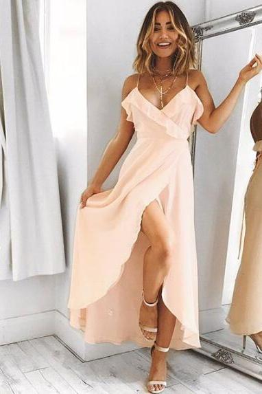 V-Neck Spaghetti Strap Wrap Chiffon Floor-Length Prom Dress, Evening Dress, Party Dress, Bridesmaid Dress, Wedding Guest Dress
