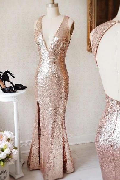 Sexy Full length Backless Prom Dress , Evening Dress , Party Dress , Bridesmaid Dress , Wedding Occasion Dress , Formal Occasion Dress