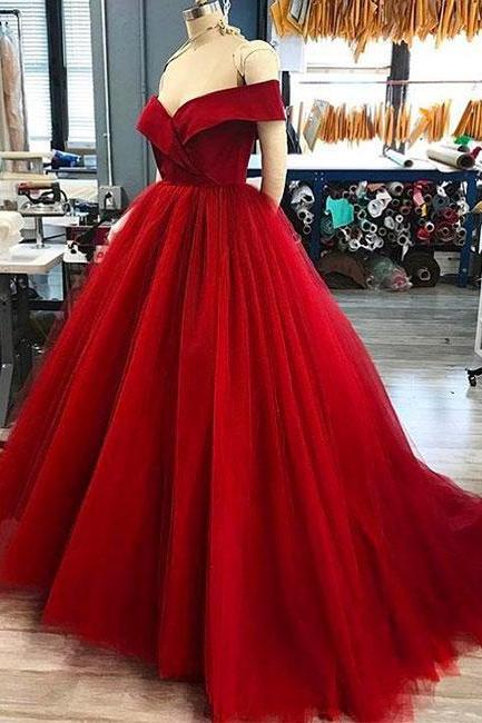 Sexy Full length Strapless Red Ball Gown Prom Dress , Evening Dress , Party Dress , Bridesmaid Dress , Wedding Occasion Dress , Formal Occasion Dress