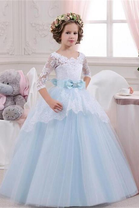 Flower Girl Dress , lace Dress,Kid Party Pageant dress, Princess Dress, Formal Wedding Occasion Dress, Bridesmaid Prom Dress,Brithday Party Dress,Girl Clothing