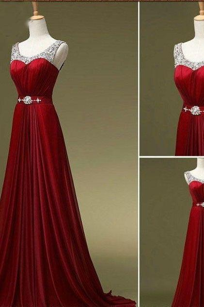 Red Beads Chiffon Prom Dress , Evening Dress , Party Dress , Bridesmaid Dress , Wedding Occasion Dress , Formal Occasion Dress