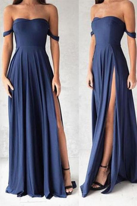 Chiffon Off-The-Shoulder Sweetheart Floor Length A-Line Bridesmaid Dress Featuring Slit, Wedding Guest Dress