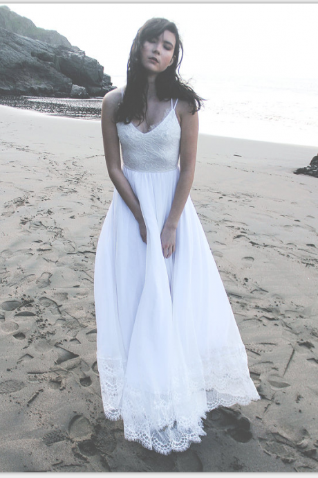 Real Beautiful Beach Wedding Dresses,White Wedding Dresses,Lace Wedding Dresses,Chiffon Wedding Gowns,Long Wedding Dress,Elegant Bridal Dresses,Backless Bridal Gowns