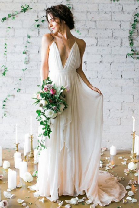 Custom Made White V-Neckline Chiffon Wedding Dress with Cascading Detail, prom dress
