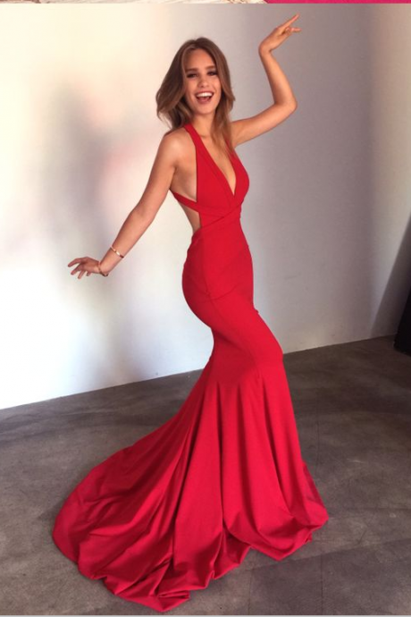 Deep V-neck Prom Dresses,Red Prom Dresses,Mermaid Prom Dresses,Simple Prom Dresses,Long Prom Dresses,Cheap Prom Dresses,Sexy Prom Dresses,Backless Prom Dresses