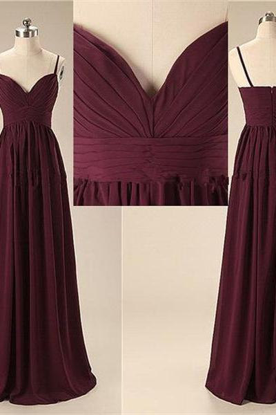 Simple Spaghetti Long Prom Dresses, Cheap Chiffon Prom Dress,Elegant Evening Dresses,Open Back Bridesmaid Dresses