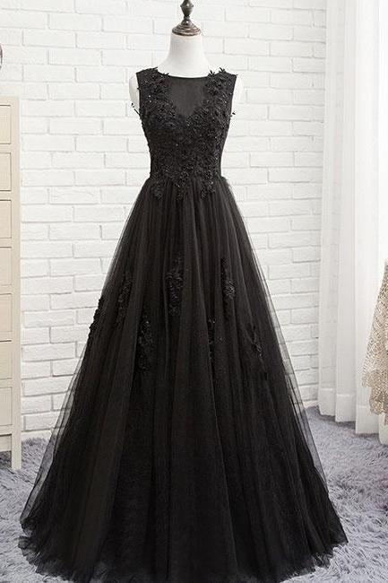 Cap Shoulder Ball Gown Sexy Black Lace Applique Wedding Dress Evening Dress Full Length Prom Dress