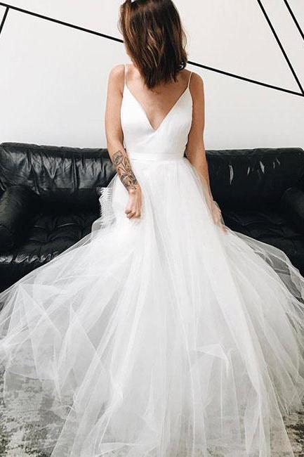 Sexy V Neck Tulle Long Wedding Dress Lace Up Back Party Dress Prom Dress Evening Dress Prom Dress