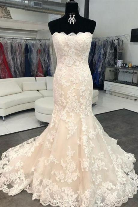 Sexy Strapless Long Lace Wedding Dress Backless Party Dress Prom Dress Evening Dress