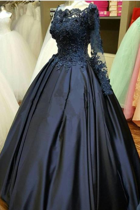 Sexy Long Sleeve Lace Applique Wedding Dress Lace Up Back Party Dress Prom Dress Evening Dress Prom Dress
