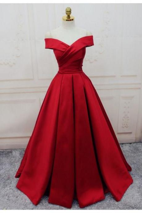 Sexy Cap Shoulder Red Wedding Dress Lace Up Back Party Dress Prom Dress Evening Dress Prom Dress