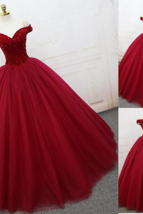 Sexy Strapless Red Cap Shoulder Lace Plus Size Long Wedding Dress Party Dress Prom Dress Evening Dress