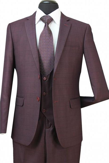 3PCS Grooms Men Tuxedos Formal Suits For Weddings Slim Plaid Best Mens Suits (Jacket+Vest+Pants)