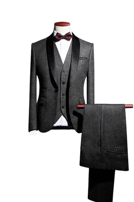New Arrival Shawl Lapel Groom Tuxedos Wedding Best Man Blazer 3 Pieces (Jacket+Pants+Vest+Tie) Men Suits Prom Party Dress Suit Custom Made