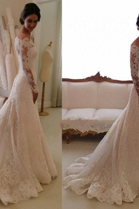White/Ivory Long Sleeve Lace Wedding Dress Bridal Gown L4