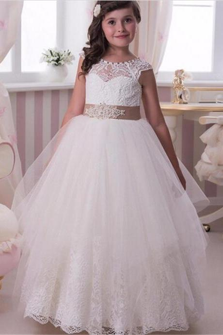 Lace Applique Crystal Floor Length Flower Girl Dresses Wedding Party Pageant Prom Ball Gown