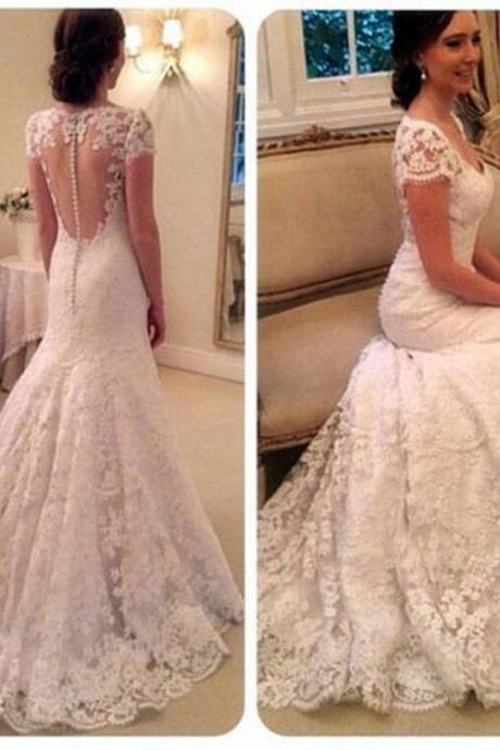 Custom White/Ivory Cap Shoulder Lace Full Length Wedding Dress Bridal Gown L21
