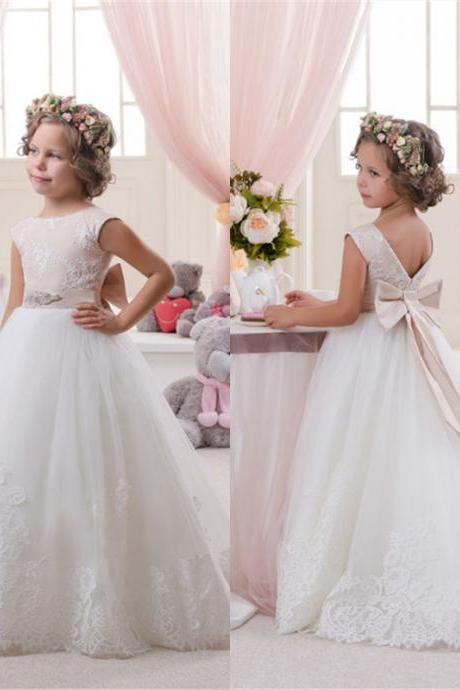 Wedding Party Pageant Bridesmaid Dress Junior Bridesmaid Dress A line floor length Crystal Bowknot Dress