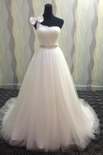 Custom White/Ivory One Shoulder Tulle Full Length Wedding Dress Bridal Gown L47