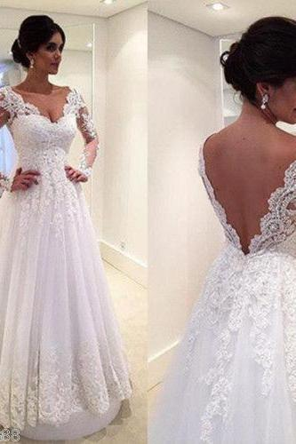 Custom White/Ivory Long Sleeve lace Applique Full Length Wedding Dress Bridal Gown L49