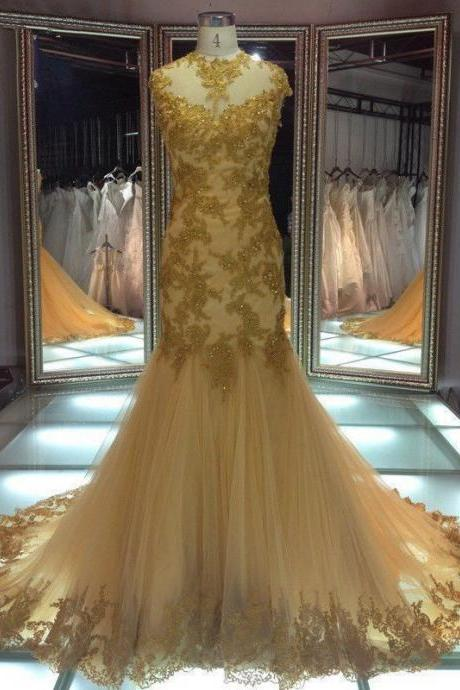 Custom Gold Round Neck lace Applique Full Length Wedding Dress Bridal Gown L52