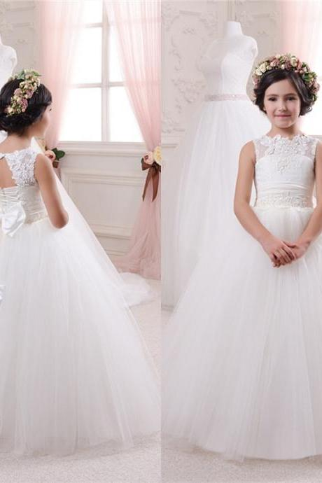 Lace applique Wedding Party Dance Pageant Junior Bridesmaid Dress flower girl dress
