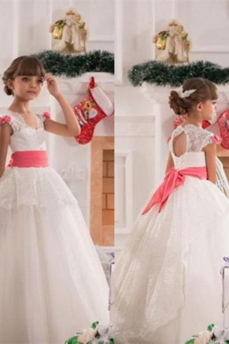 New Lace Cap Shoulder Baby Girl Wedding Party Dance Pageant Junior Bridesmaid Dress flower girl dress XA32