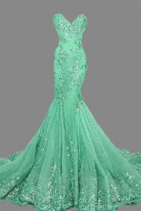 vestidos de festa Girls Fashion Dresses Evening China Cheap Luxury High Quality Long Green Mermaid Prom Dresses L116