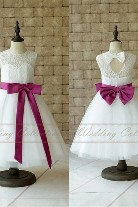 Lace Tulle Flower Girl Dress With Plum Sash and Bow W1