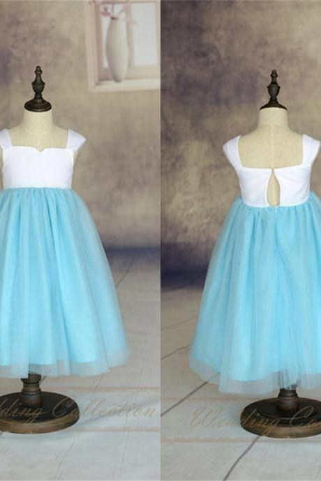 Simple Flower Girl Dress Cap Sleeves Tulle Skirt Floor Length A-line Toddler Tutu Dress w3