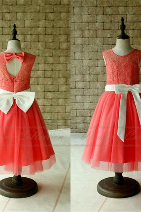 Coral Lace Tulle Flower Girl Dress With Champagne Sash and Bow W42