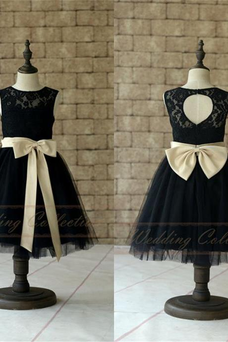 Black Lace Tulle Flower Girl Dress With Champagne Sash and Bow W55
