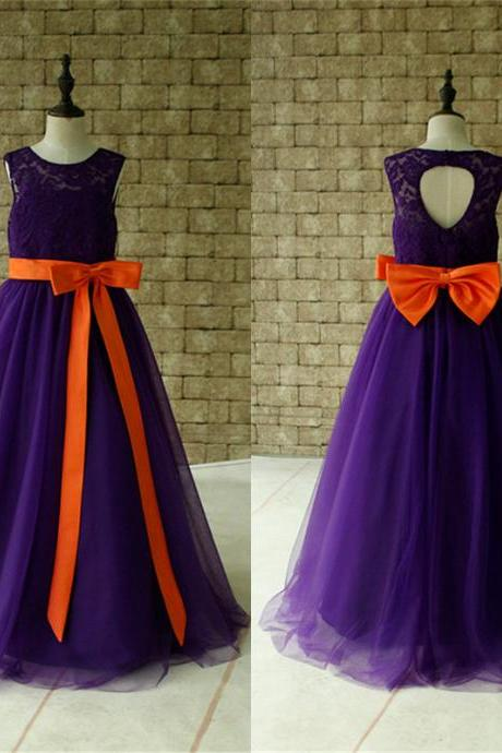 Purple Lace Flower Girl Dress Floor Length with Orange Sash and Bow Birthday Dress Made For Girls, Toddlers W65