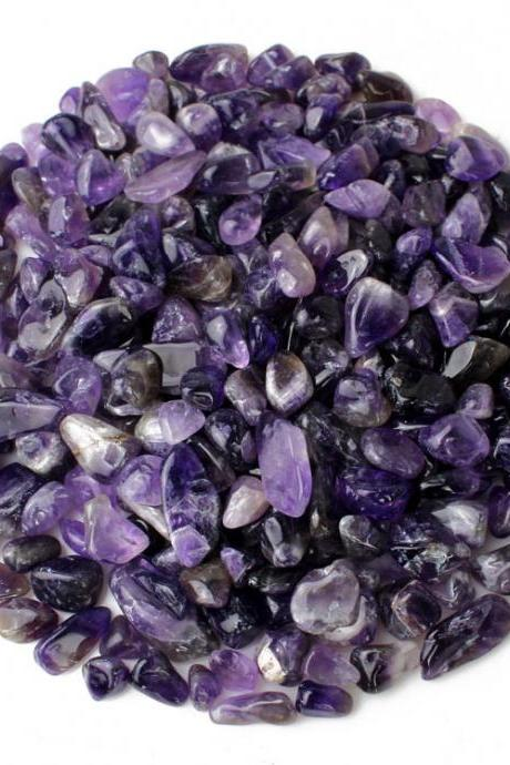 100g Large Particles 100% Natural Tumbled Clear Amethyst Quartz Stone Gemstone XA8