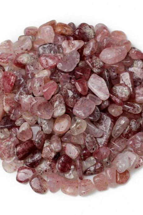 100g Small Particles 100% Natural Tumbled Clear strawberry quartz Quartz Stone Gemstone XA19