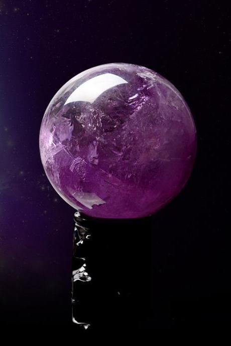 40mm Natural Amethyst Quartz Magic Crystal Healing Ball Sphere+Stand LH-3