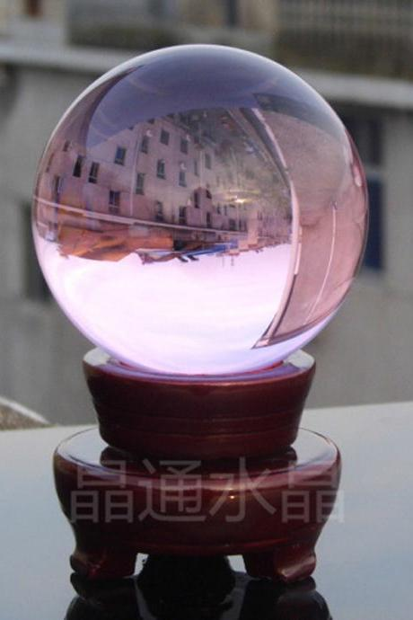 100mm Natural PINK Rock Quartz Stone Magic Crystal Healing Ball Sphere + Stand LH-21